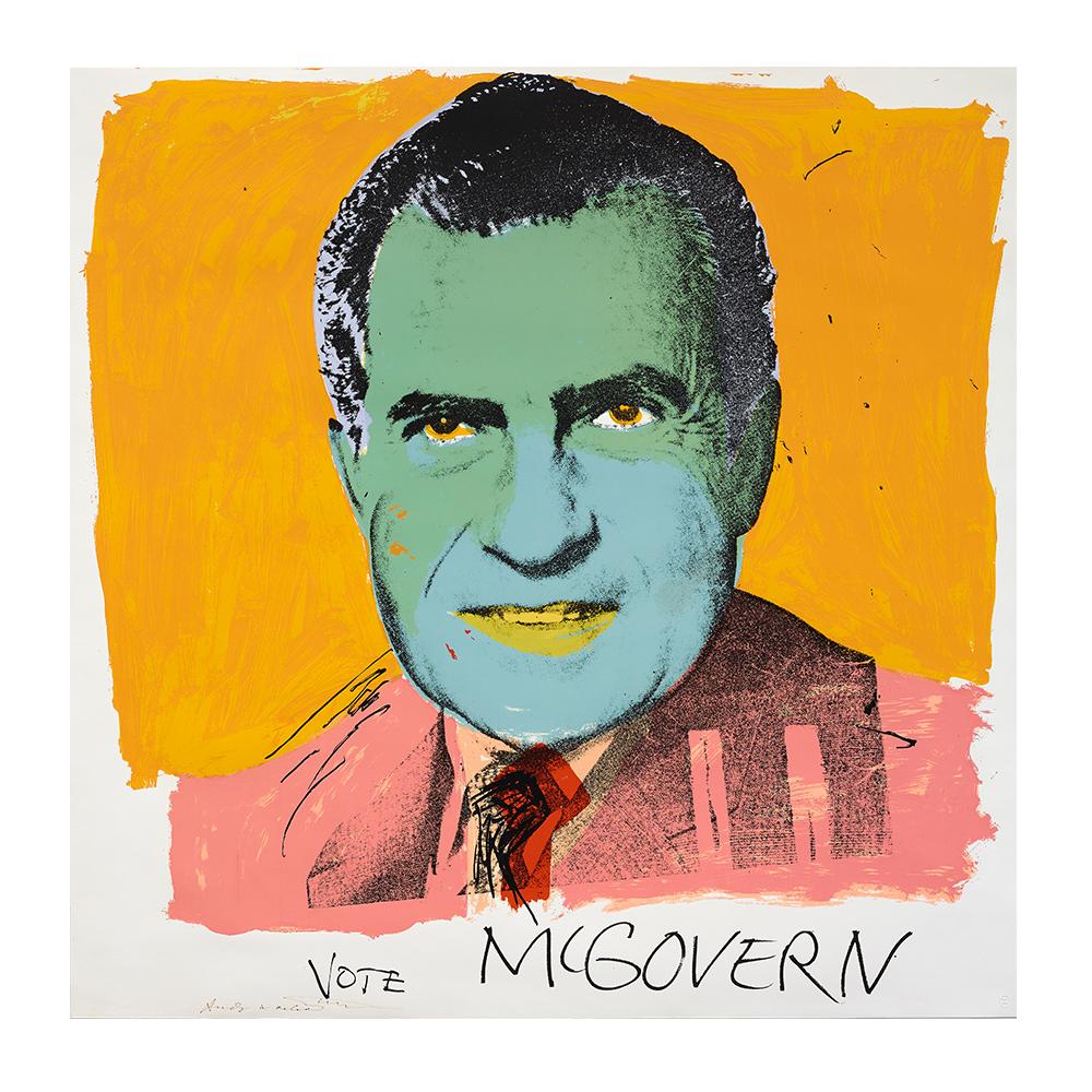 """El cuadro """"Vote McGovern"""", de Andy Warhol, forma parte de la exposición """"El sueño americano. Del pop a la actualidad"""", en CaixaForum, en Madrid."""