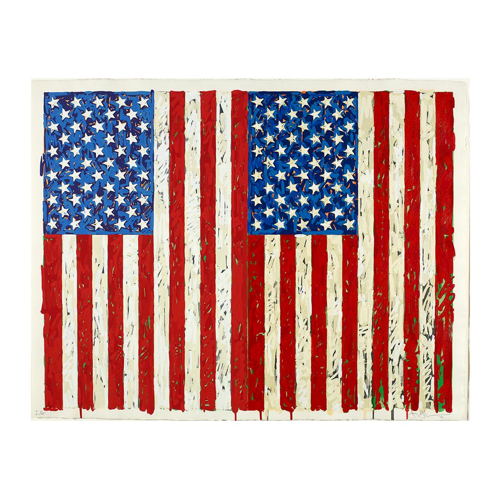 """El cuadro """"Flags"""", de Jasper Johns, forma parte de la exposición """"El sueño americano. Del pop a la actualidad"""", en CaixaForum, en Madrid."""