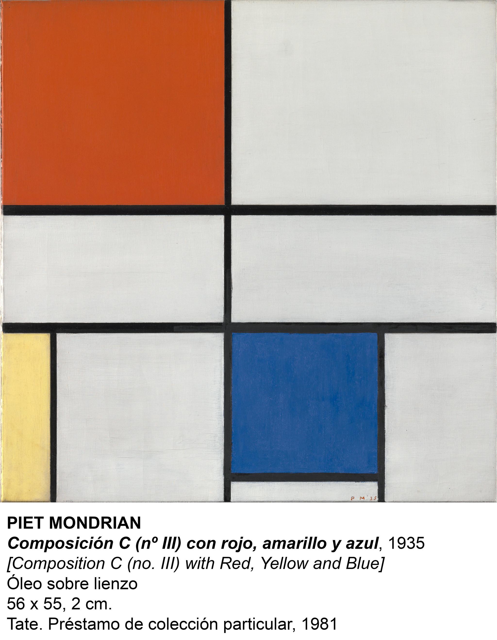 Composición C (n 3) con rojo, amarillo y azul, Piet Mondrian