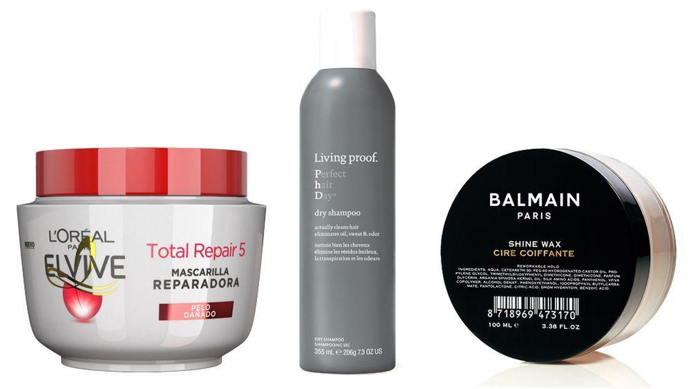 Mascarilla Total Repair 5 de LOréal Paris (C.P.V.); Dry Shampoo Perfect Hair Day de Living Proof (33 euros); Shine Wax o cera de brillo de Balmain Hair para aportar brillo, fijación y flexibilidad (29,95 euros).