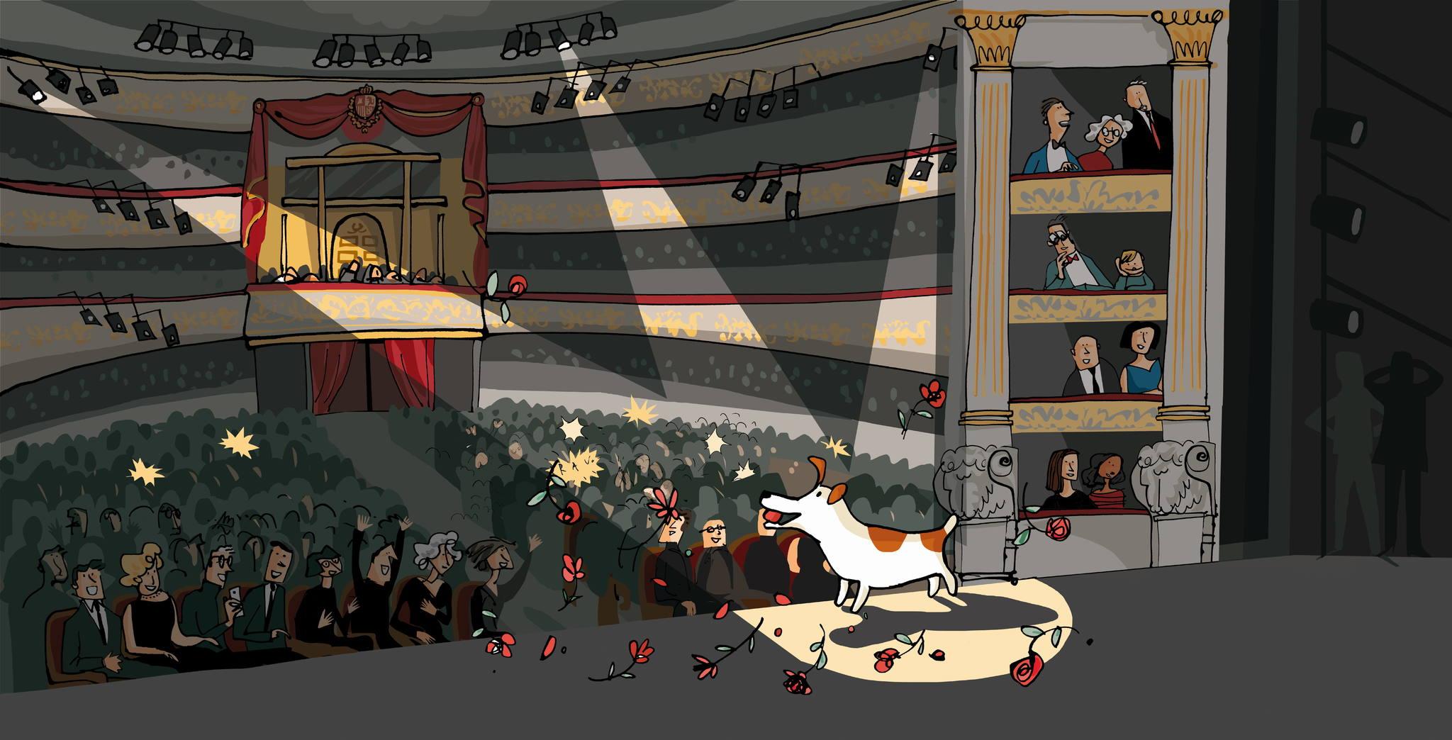 Ilustración de Ximena Maier del cuento Pompón en el Teatro