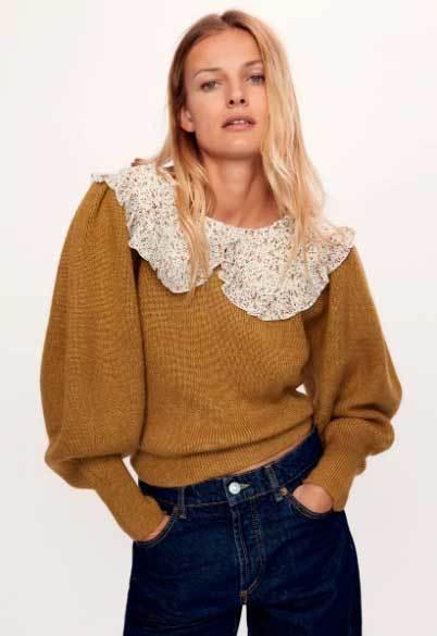 Suéter con cuello de encaje de Zara