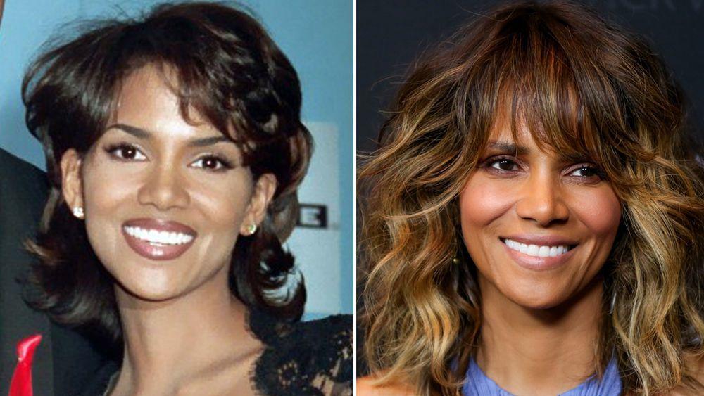 Halle Berry antes de su look actual (izquierda) y ahora (derecha).
