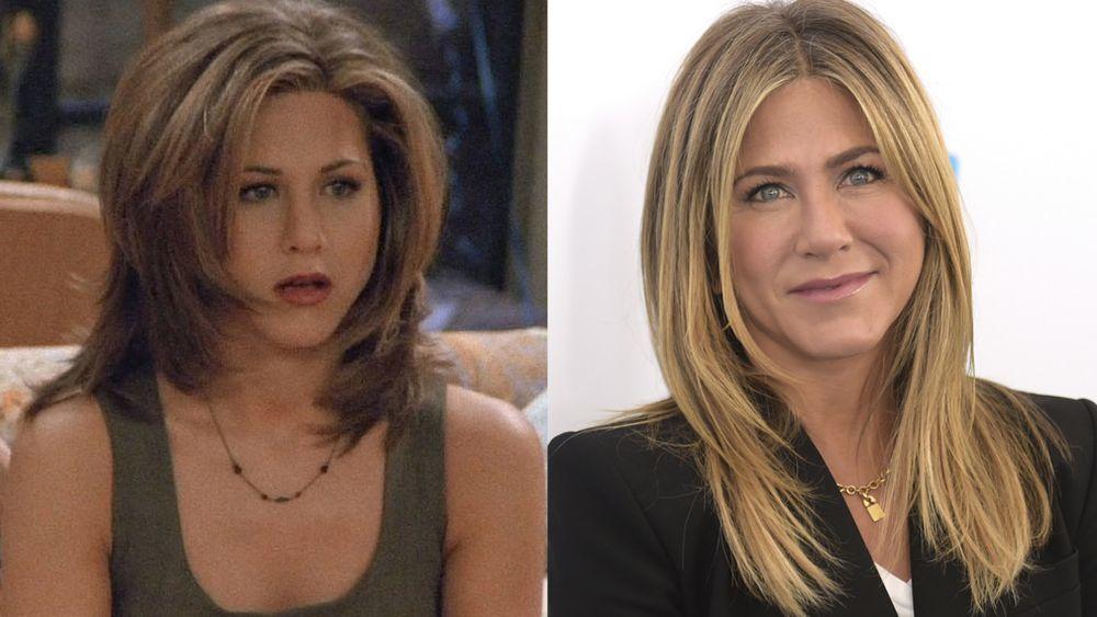 """Jennifer Aniston en """"Friends"""" con su corte Rachel a la izquierda y la actriz a la derecha en la actualidad."""