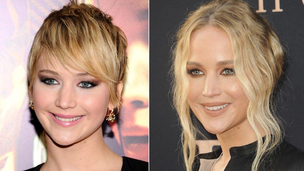 Jennifer Lawrence con un corte pixie a la izquierda y con su melena larga recogida a la derecha.