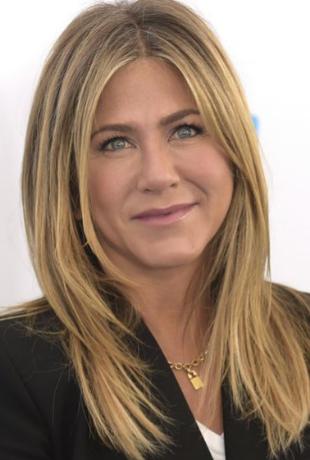 """Jennifer Aniston en """"Friends"""" con su corte Rachel a la izquierda y la..."""