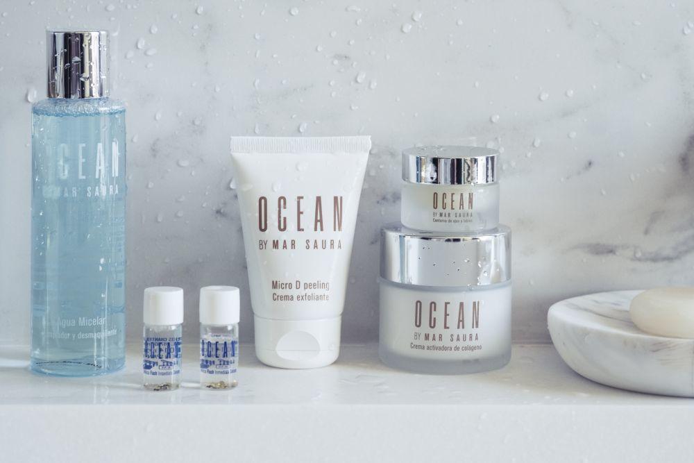 Agua micelar, ampollas flash, peeling, contorno y crema de Ocean by Mar Saura.