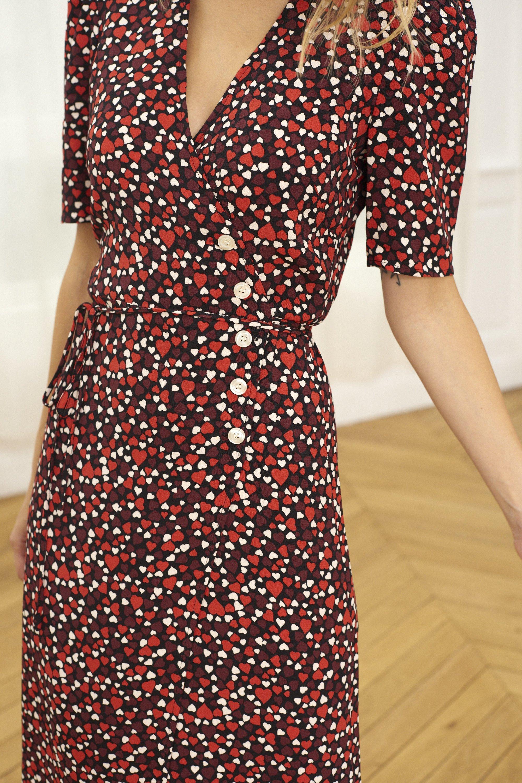 Estampado de corazones del vestido de Rouje Paris