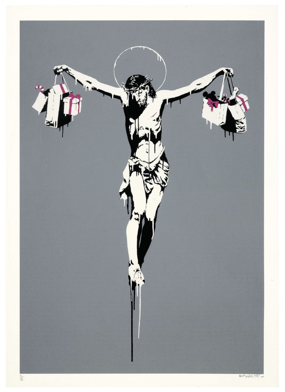 """""""Christ with shopping bags"""" (""""Cristo con bolsas de la compra""""), una de las obras de Banksy que se puede visitar en la exposición del Cïrculo de Bellas Artes."""