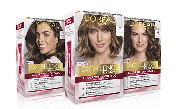 Excellence Creme de L'Oréal Paris (8 euros) tiene una nueva fórmula con pro-keratina y lonene G que actúan en profundidad sustituyendo los enlaces rotos de la fibra capilar y reparando las irregularidades. Coloración de larga duración, respetando al máximo el cabello.