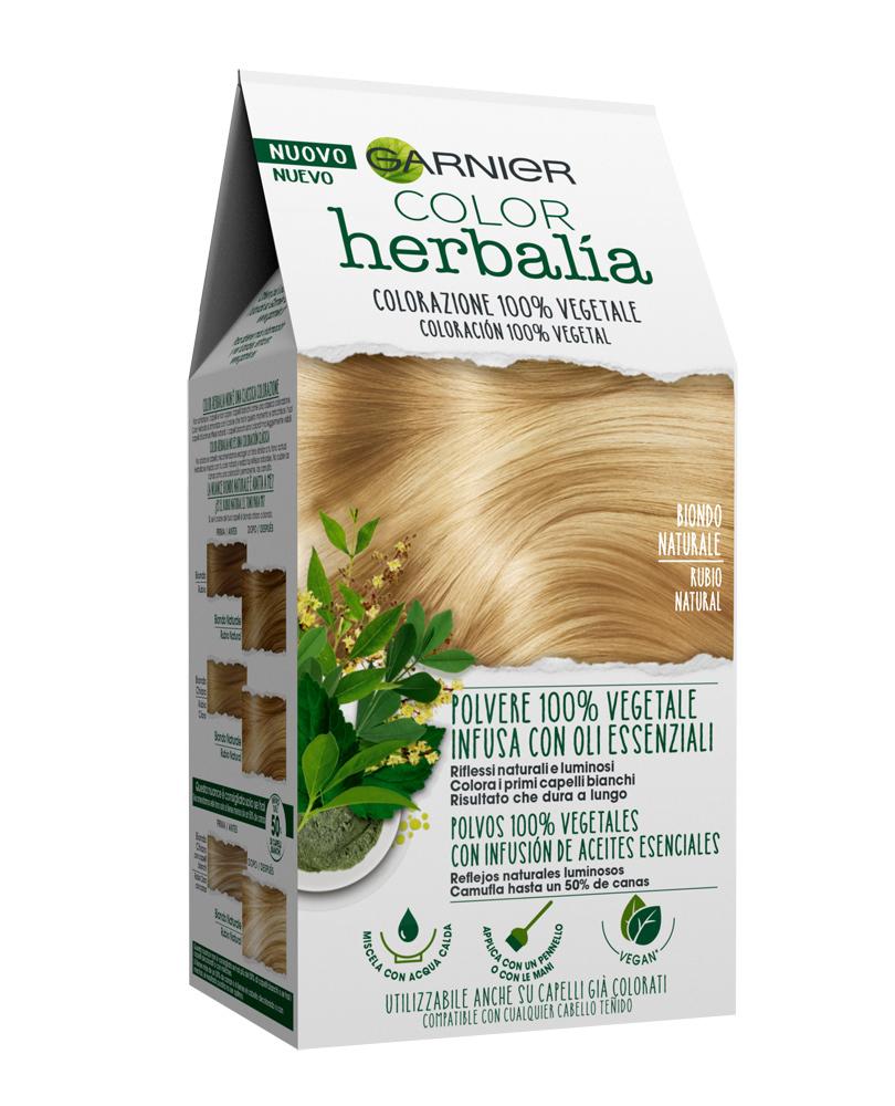 Color Herbalia de Garnier (11,99 euros) es un tinte vegetal de larga duración, formulado a partir de una mezcla única de polvos 100% vegetales, aceite de coco y aceites esenciales de menta, bergamota y pachuli.