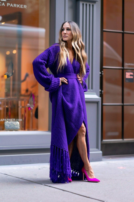Sarah Jessica Parker con vestido de punto.