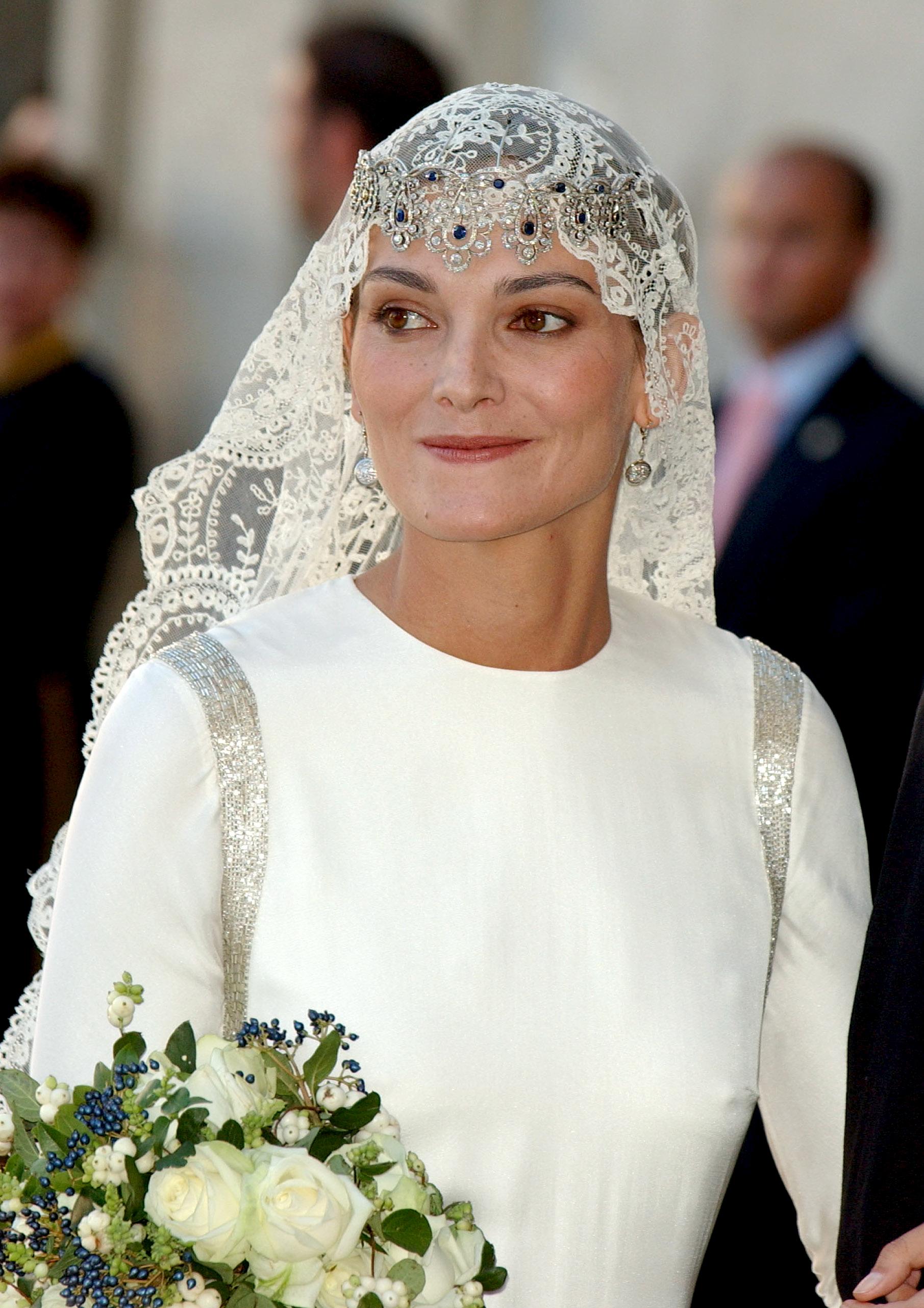Laura Ponte el día de su boda con Beltrán Gómez Acebo en La Granja...