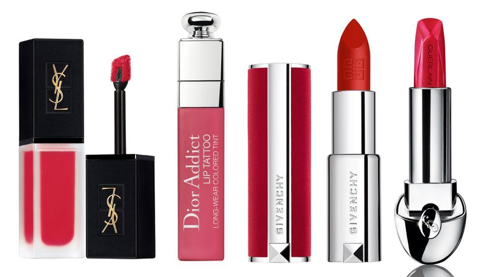 Tatouage Couture Velvet Cream 203 de YSL (38,35 euros); Lip Tatoo Dior Addict de Dior Natural Cherry (37 euros); Le Rouge Deep Velvet 36 de Givenchy (36 euros); Rouge G Sheer Shine 688 de Guerlain (35,10 euros).