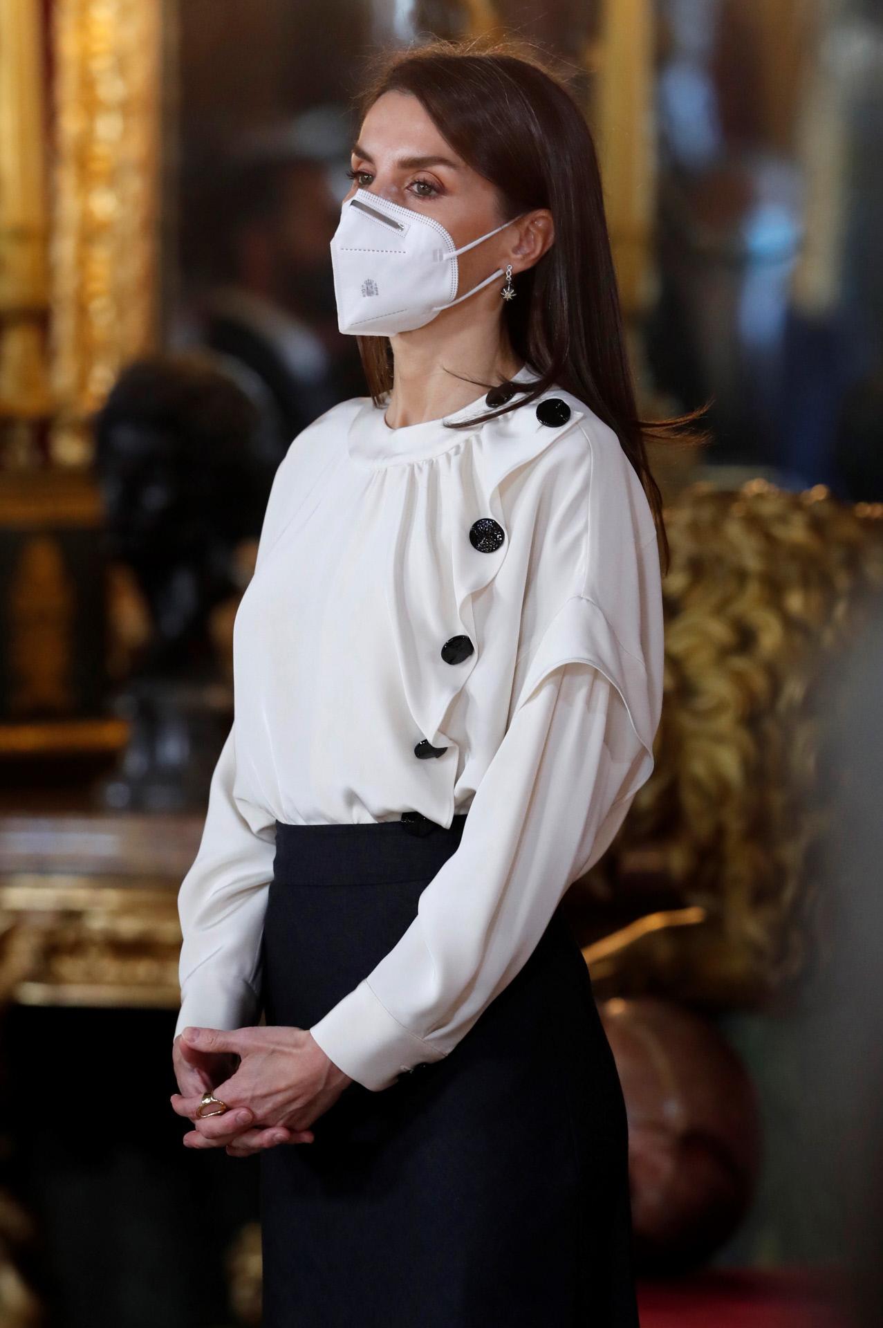 La reina Letizia en la posterior recepción a la Pascua Militar 2021.