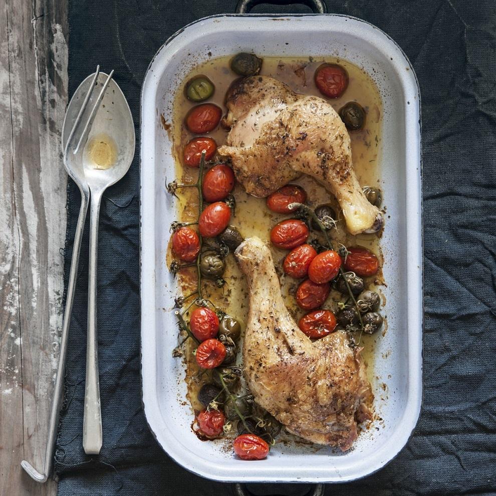 Pollo asado al aroma mediterráneo