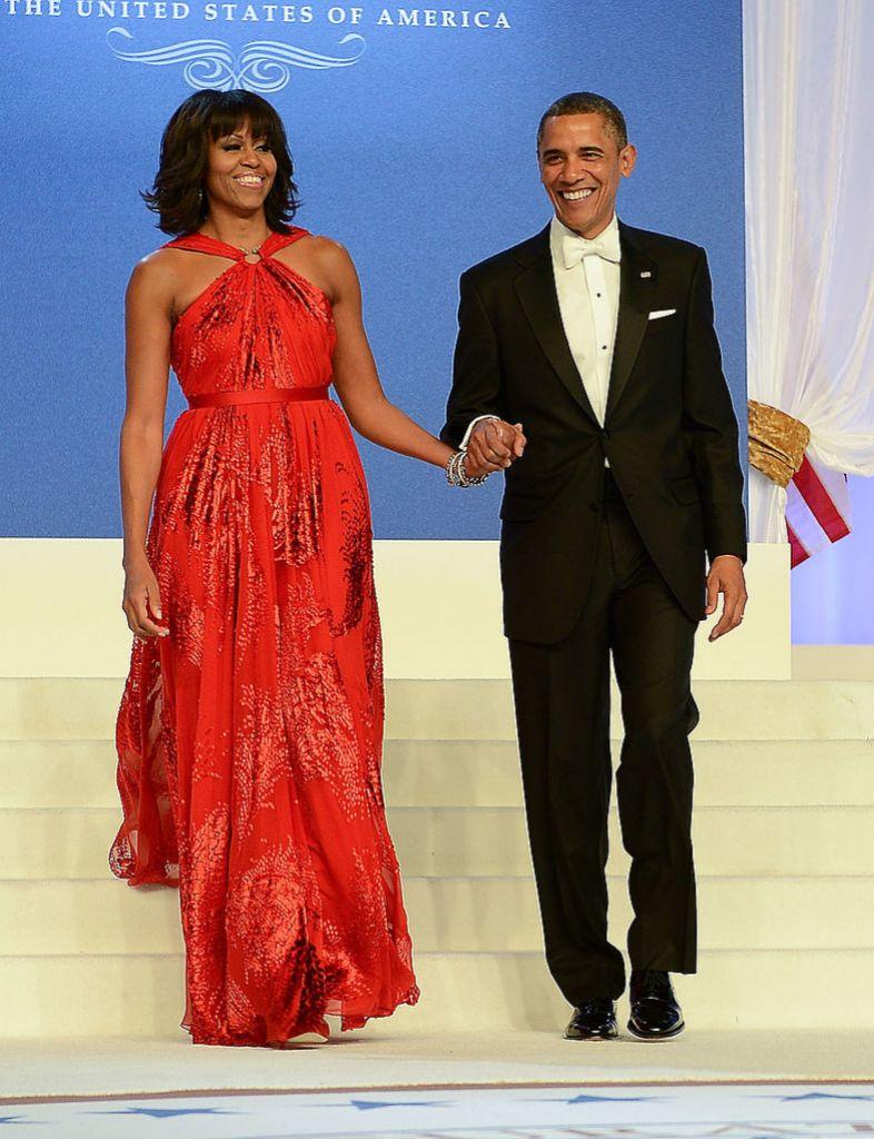 Barack y Michelle Obama llegan al baile en el Walter E. Washington Convention Center (21 de enero 2013).