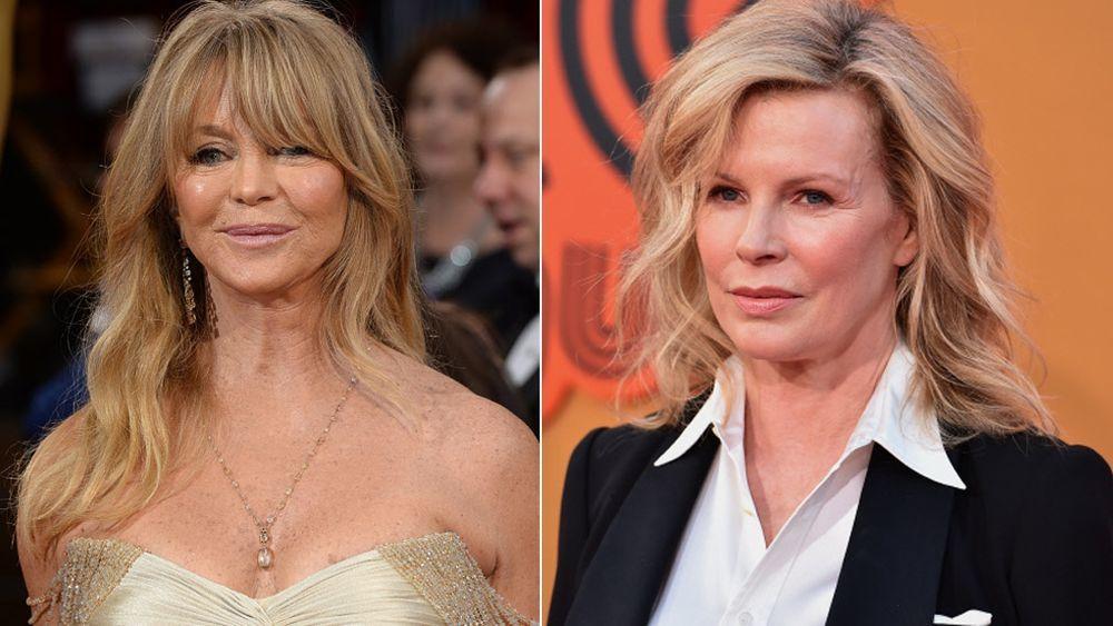 Las dos versiones de un corte de pelo largo con capas y movimiento, con flequillo como lo lleva Goldie Hawn y sin flequillo por Kim Basinger.