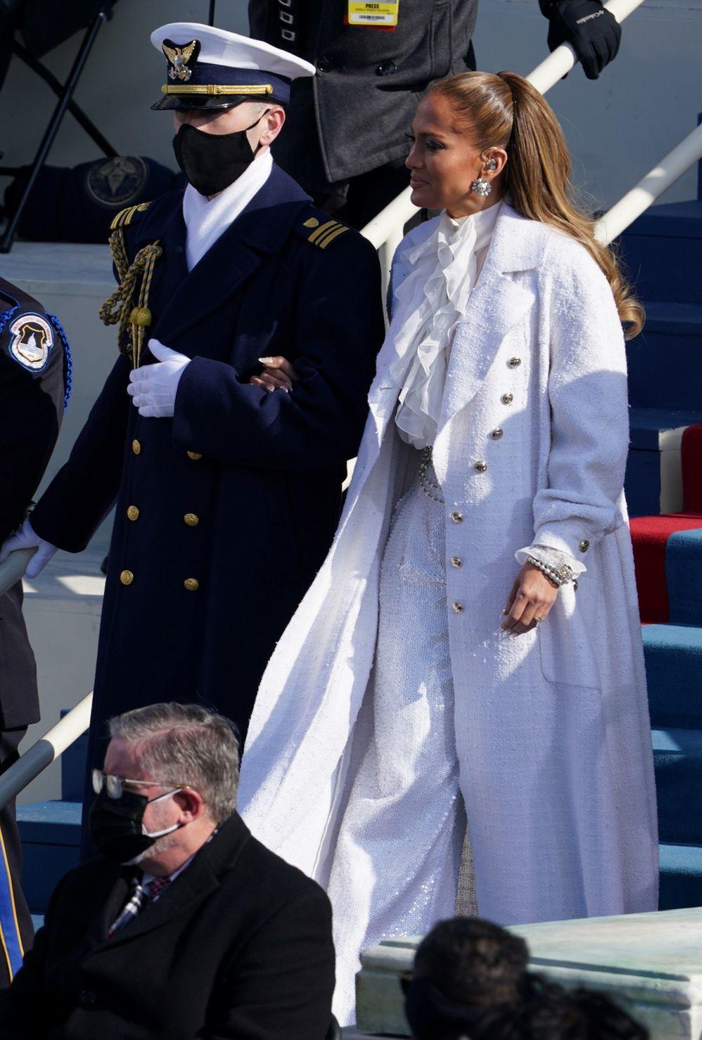 Jennifer Lopez llegando a la ceremonia inaugural de la investidura de Joe Biden.