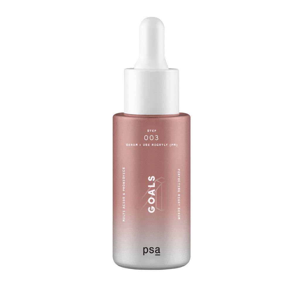 Goals Multi Acids & Probiotics Perfecting Night Serum de PSA Skin (43 euros). Con niacinamida y ácido glicólico elimina la piel muerta, impulsan la renovación y aclaran la apariencia de imperfecciones. A la venta en Laconicum.