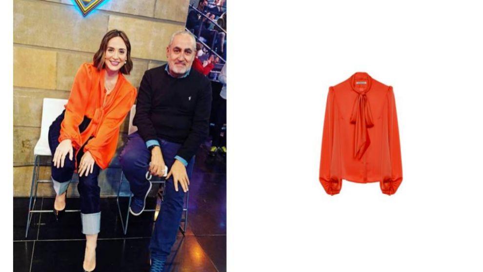 Tamara Falcó en El Hormiguero luce blusa de Cyrana en naranja