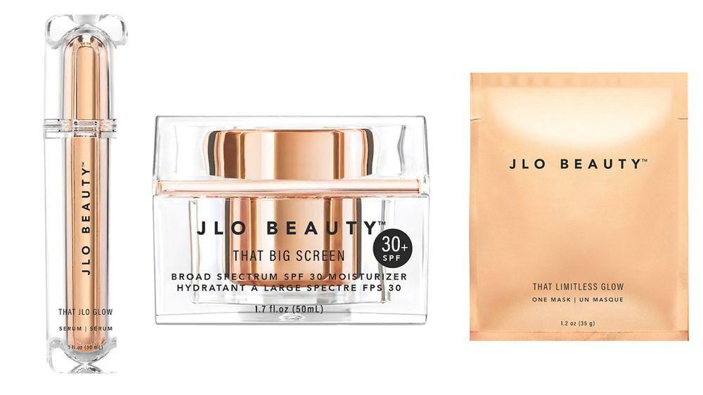 Sérum That JLo Glow, crema con protección solar That Big Screen SPF 30+ y mascarillas individuales That Limitles Glow, de JLo Beauty.