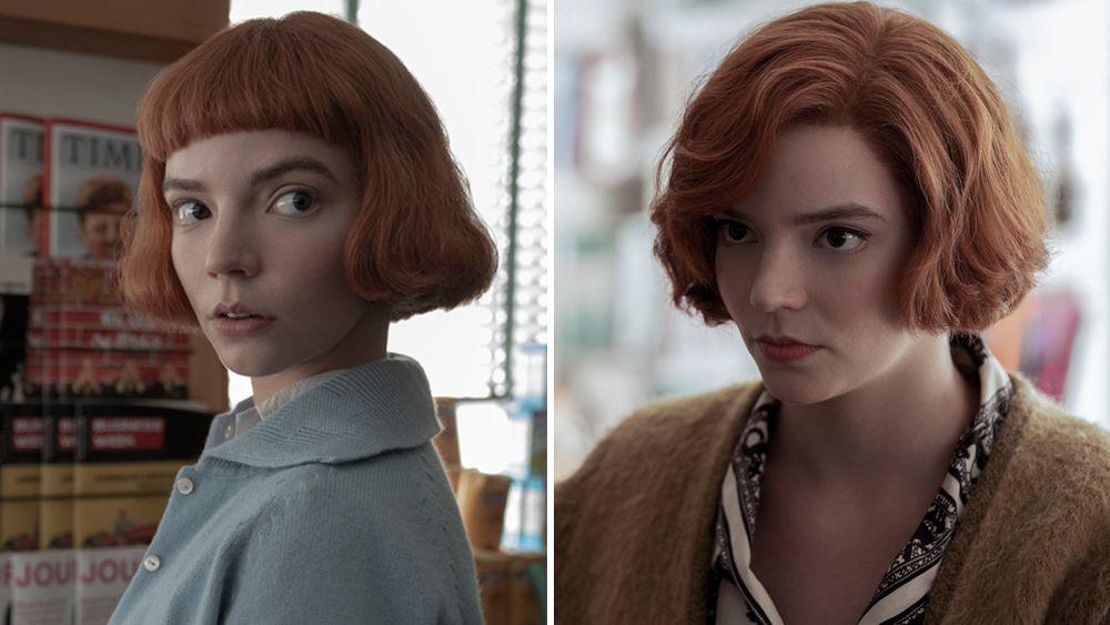 Anya Taylor-Joy como Beth Harmon en Gambito de Dama con y sin flequillo baby bangs y melena pelirroja cobriza.