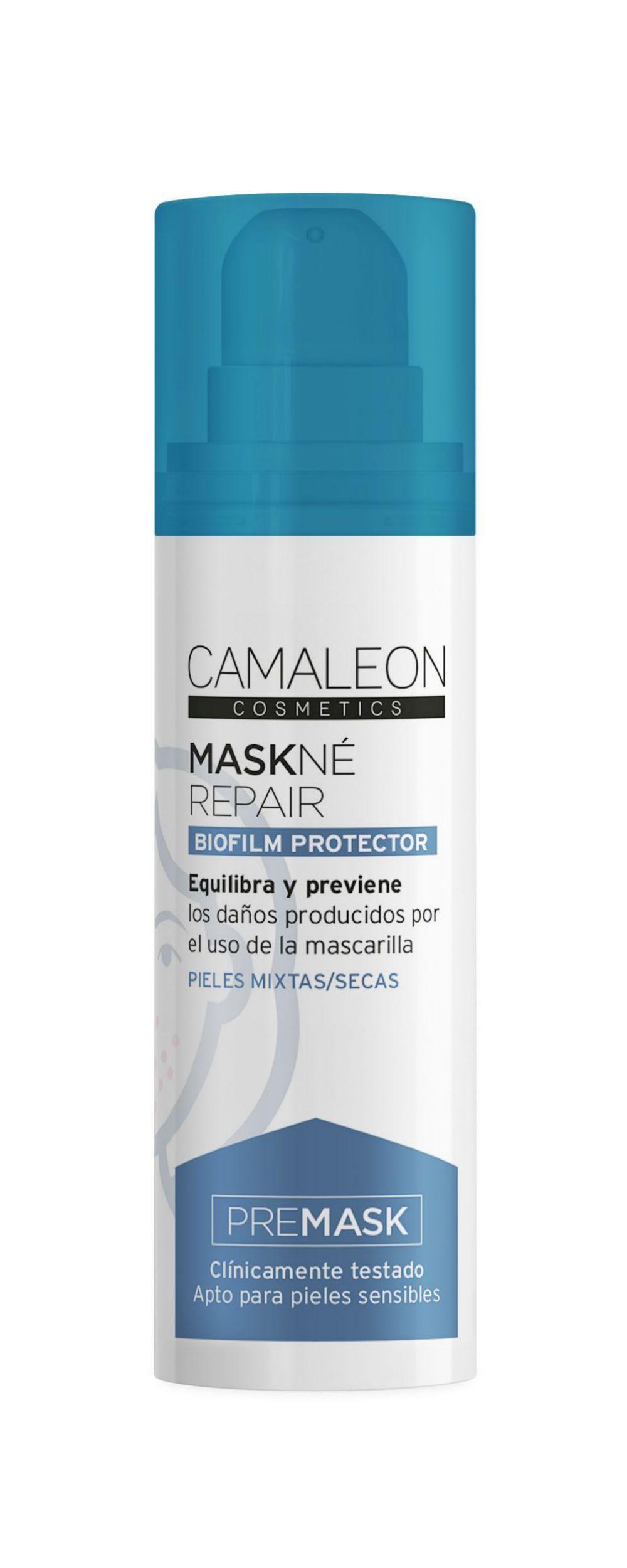 Premask Maskné Repair, Camaleón (12,50 euros), se aplica antes de poner la mascarilla, crea una película protectora contra las rozaduras.