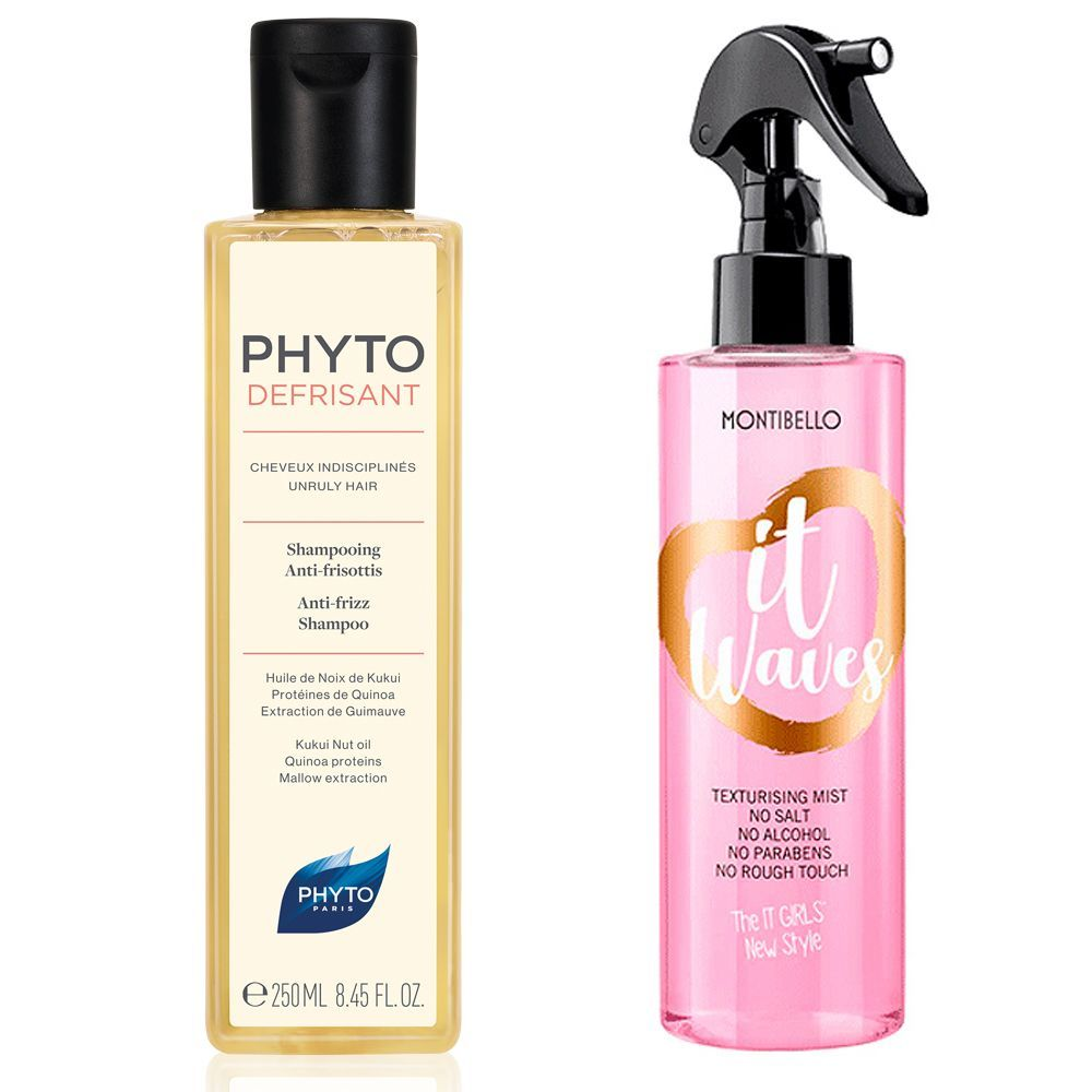 Champú Phytodefrisant de Phyto; Spray It Waves de Montibello.