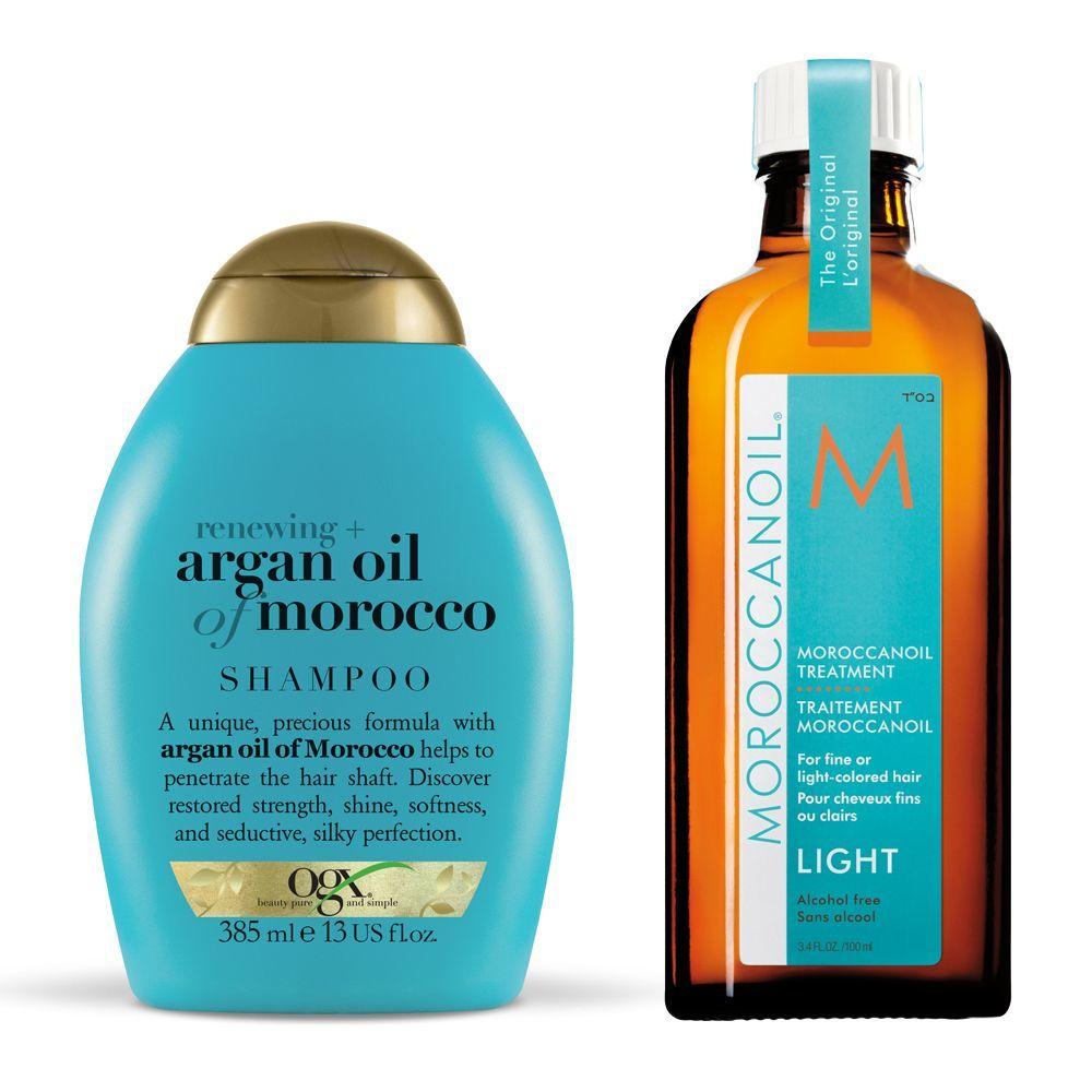 Champú Argan Oil of Morocco de OGX; Tratamiento ligero de Moroccanoil.