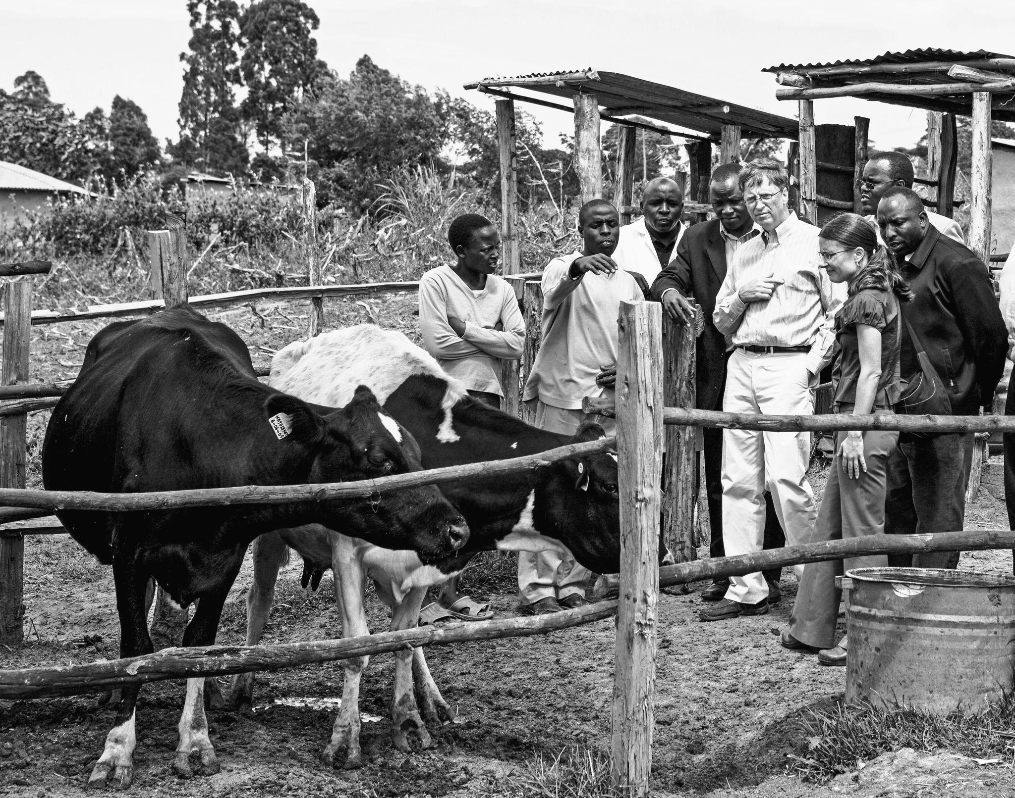 Bill Gates en una granja de Kenia, en 2009