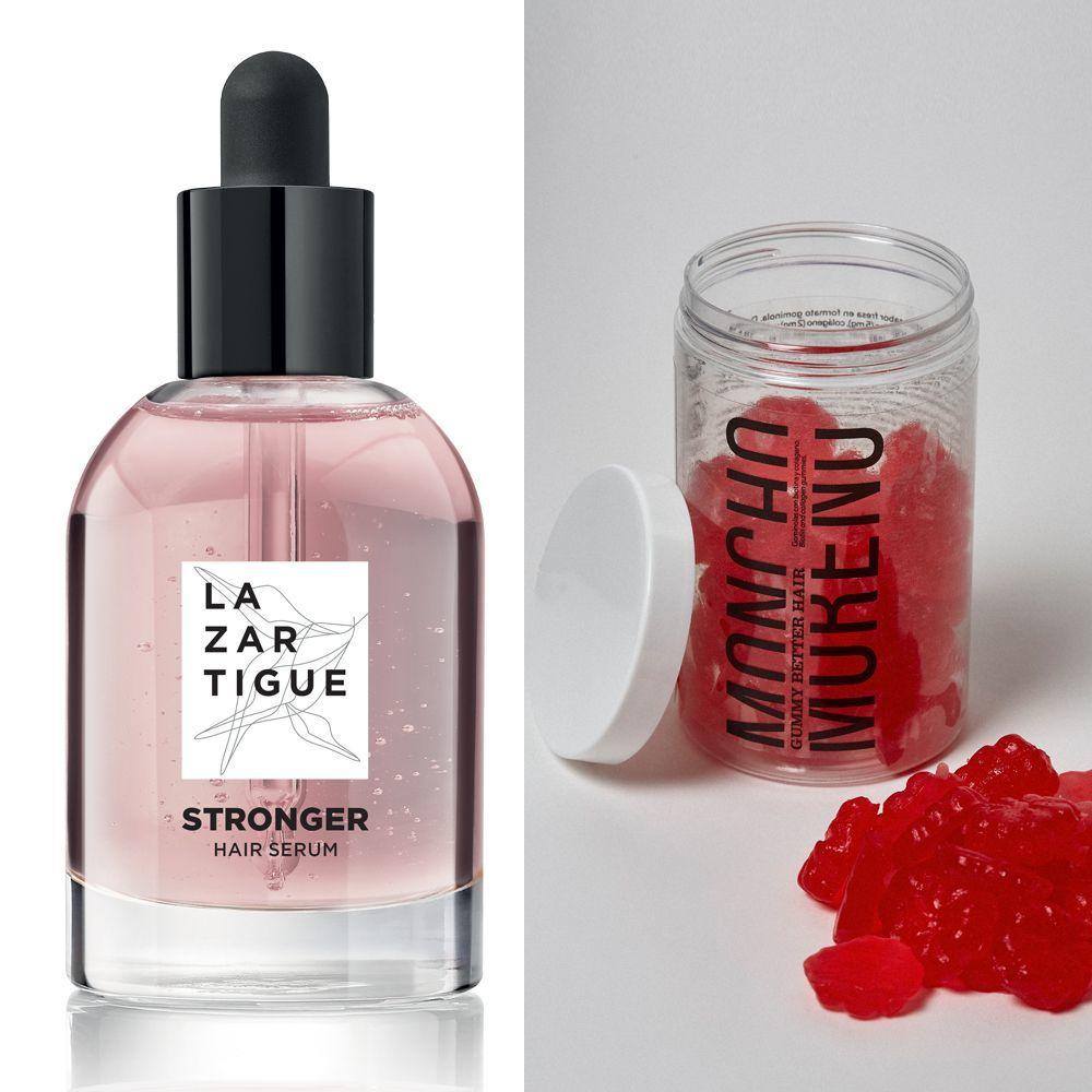 Sérum anticaída Stronger de Lazartigue; Gominolas anticaída Gummy Better Hair de Moncho Moreno.