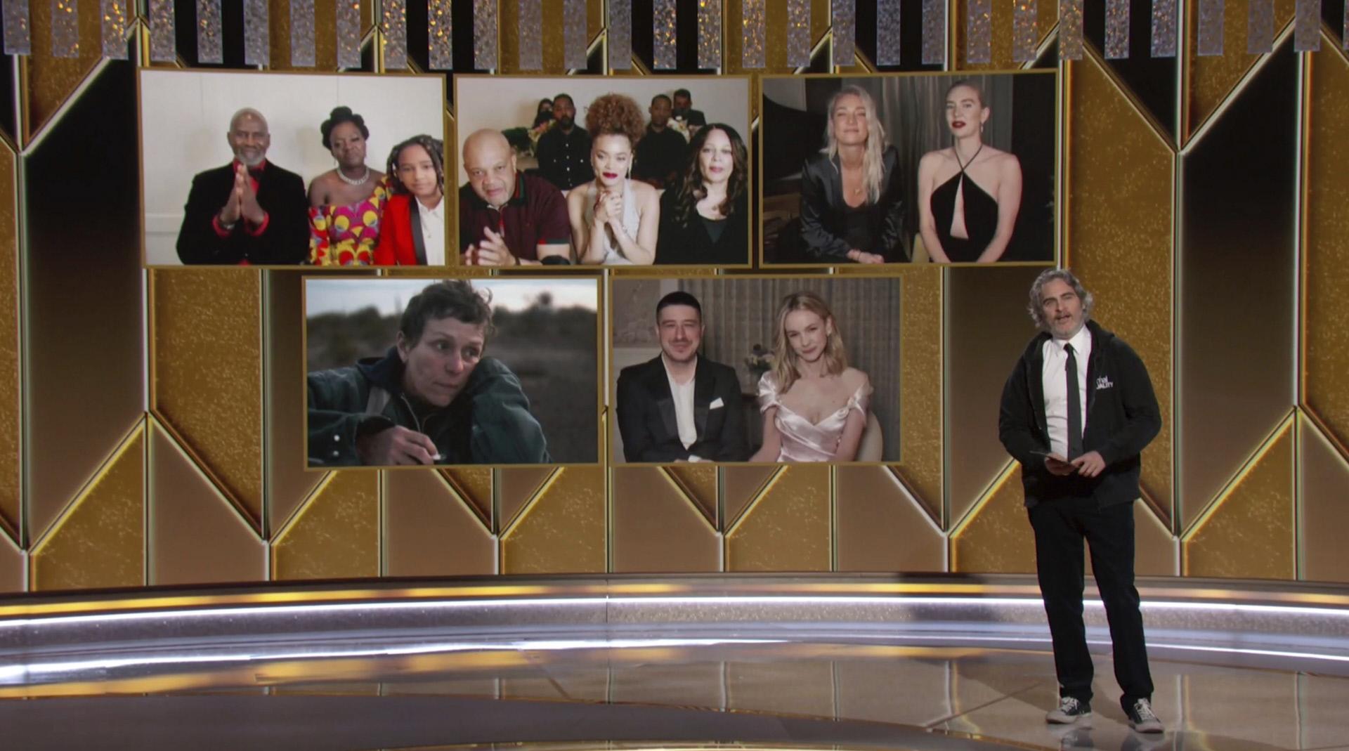 Joaquin Phoenix fue el encargado de presentar a las nominadas a mejor actriz dramática, con Viola Davis, Andra Day, Vanessa Kirby, Frances McDormand y Carey Mulligan.