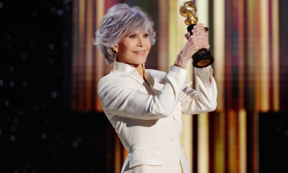 Jane Fonda recibiendo el Globo de Oro honorífico a toda su carrera.