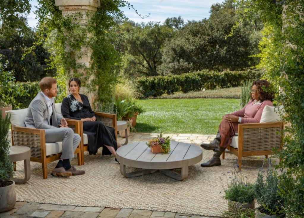Los duques de Sussex durante la entrevista.