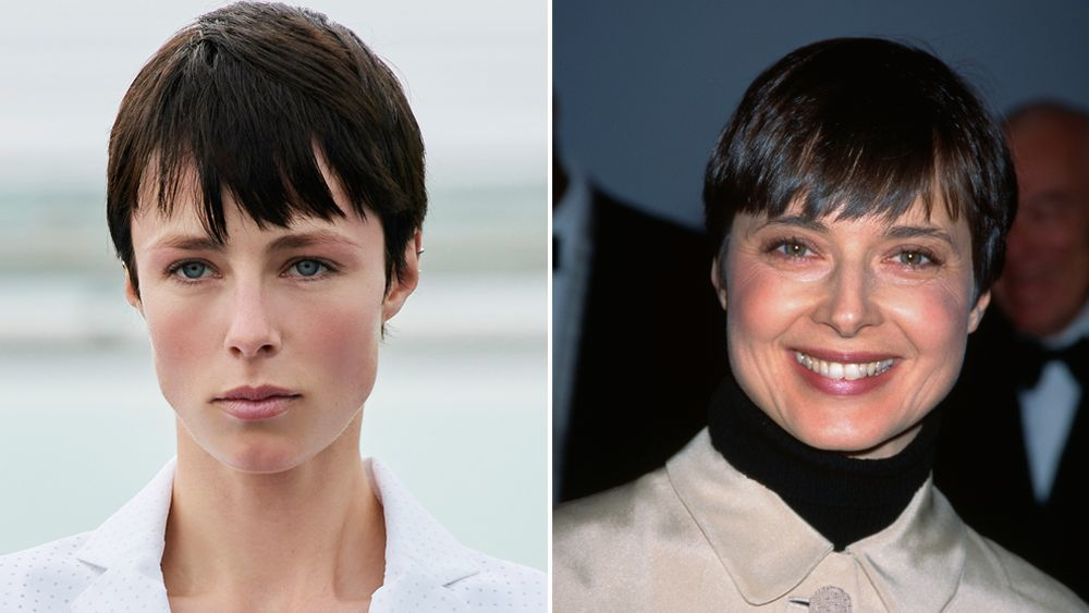 Edie Campbell with a straight pixie with fringed bangs, almost id