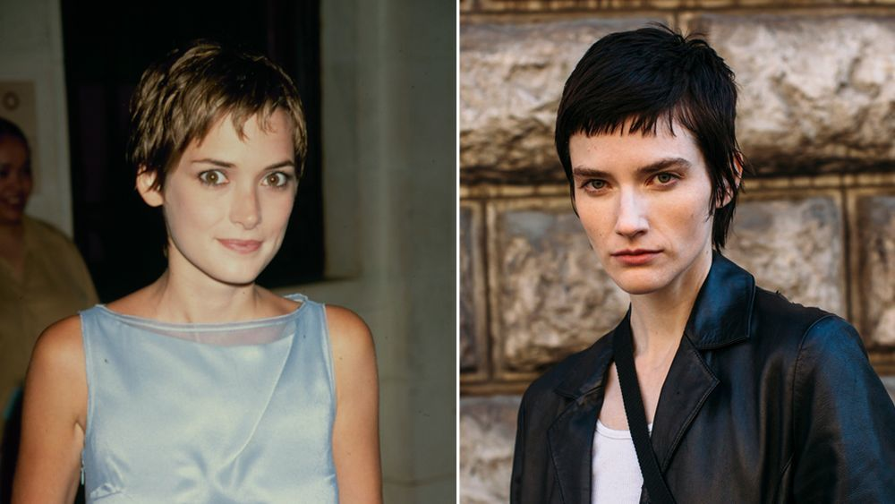 Winona Ryder with a very short pixie cut with micro bangs and a street style model with a very similar cut at Par Fashion Week