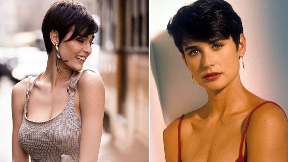 El pixie con flequillo largo resulta ideal para los rostros ovalados, alargados y ligeramente cuadrados. Así lo lleva hoy Alice Sabatini y en 1990, la actriz Demi Moore.