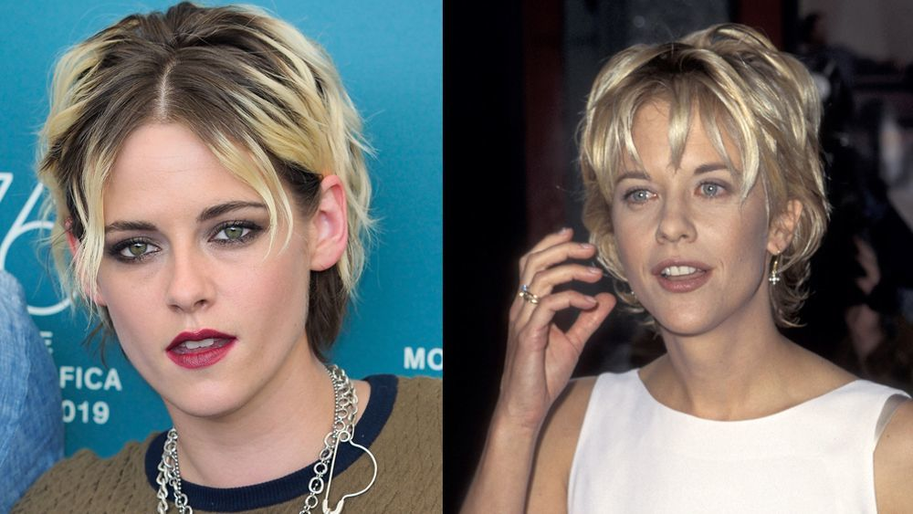 Kristen Stewart with her shaggy layered pixie cut seems to have been inspired by Meg Ryan's cut from the a