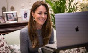 Kate Middleton durante una videollamada.