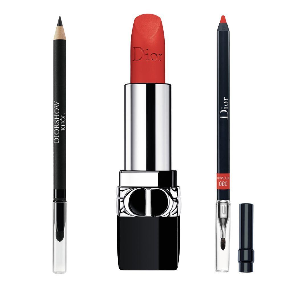 Lápiz de ojos Diorshow Khôl nº099 Black; Barra de labios Rouge Dior 888 Matte; Lápiz perfilador Dior Contour 080.