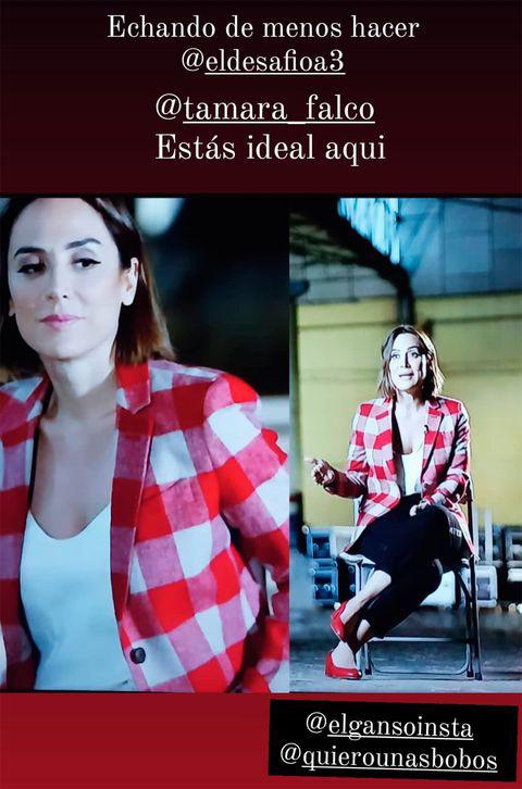 Stories de Montse Nieto, con look de Tamara Falcó.
