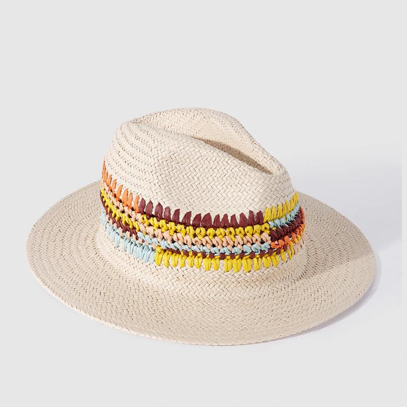 Sombrero trenzado multicolor.