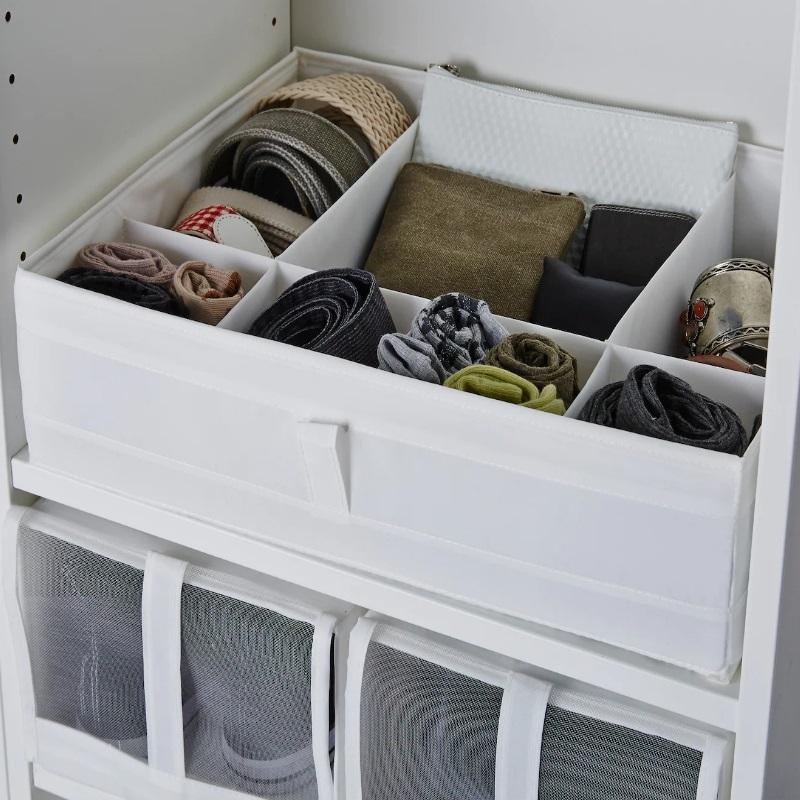 SKUBB. Caja con compartimentos, blanco. De Ikea.