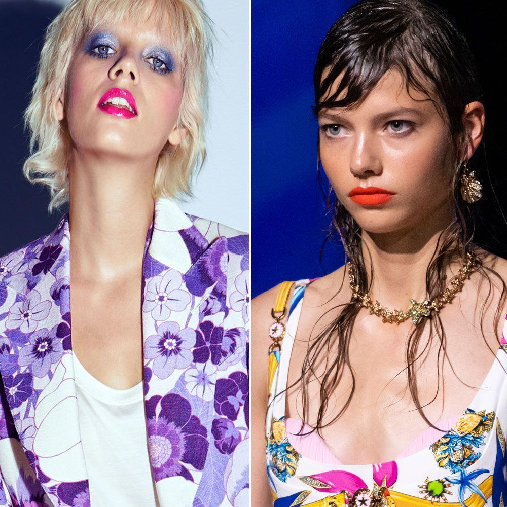 Los labios vinilo en fucsia de Tom Ford (izquierda) y los labios eléctricos en rojo anaranjado de Versace (derecha) serán dos de los colores y texturas que triunfarán esta temporada.