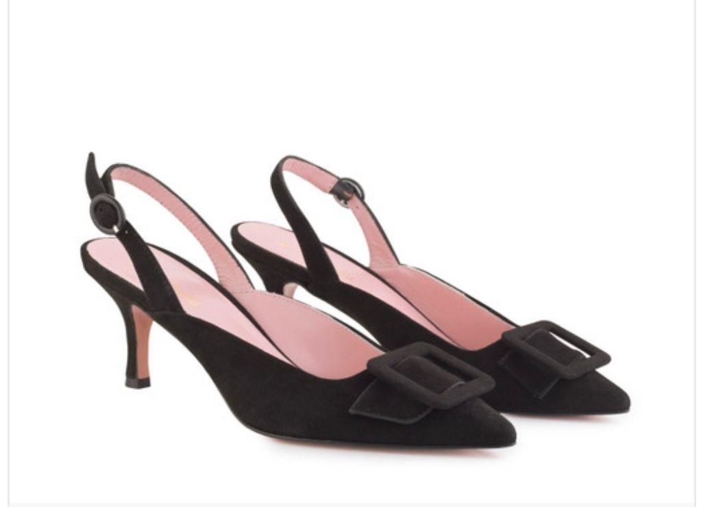 Zapatos Carrie Black Suede Sling Back Black, de Isabel Abdo.