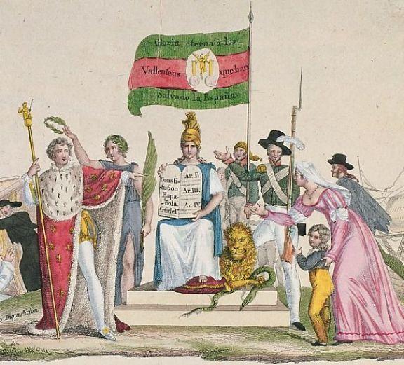 Imágenes de la Constitución aprobada durante el trienio liberal de...