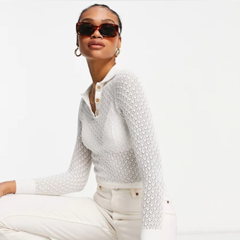 Jersey transparente de crochet de Fashion Union