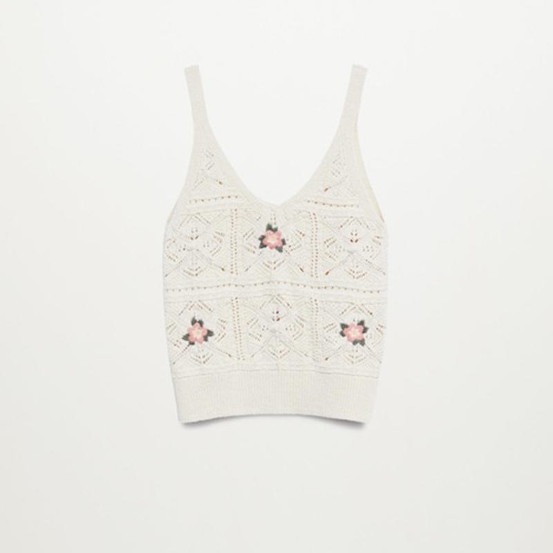 Top crochet flores.