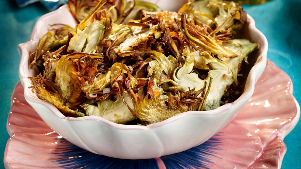 Lascas de alcachofa con salsa de hinojo